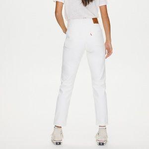 Levi's 501 High rise white denim jean